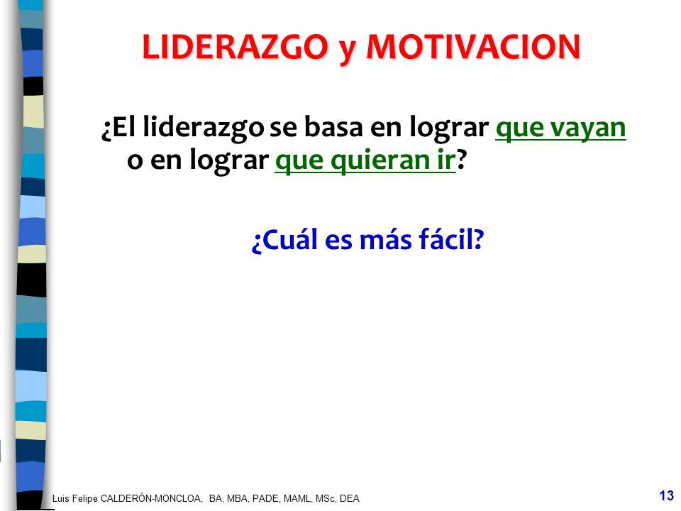 Luis Felipe CALDERÓN-MONCLOA, BA, MBA, PADE, MAML, MSc, DEA 13 LIDERAZGO y MOTIVACION ¿El liderazgo se basa en lograr que vayan o en lograr que quiera