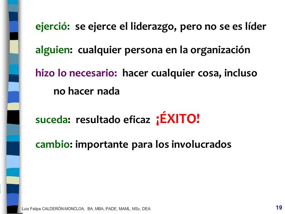 Luis Felipe CALDERÓN-MONCLOA, BA, MBA, PADE, MAML, MSc, DEA 19 ejerció: se ejerce el liderazgo, pero no se es líder alguien: cualquier persona en la o