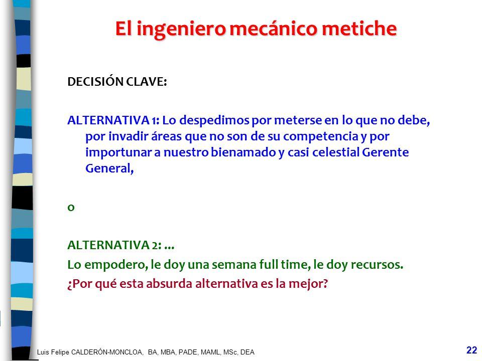Luis Felipe CALDERÓN-MONCLOA, BA, MBA, PADE, MAML, MSc, DEA 22 El ingeniero mecánico metiche DECISIÓN CLAVE: ALTERNATIVA 1: Lo despedimos por meterse
