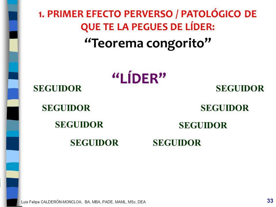 Luis Felipe CALDERÓN-MONCLOA, BA, MBA, PADE, MAML, MSc, DEA 33 LÍDER SEGUIDOR 1. PRIMER EFECTO PERVERSO / PATOLÓGICO DE QUE TE LA PEGUES DE LÍDER: Teo