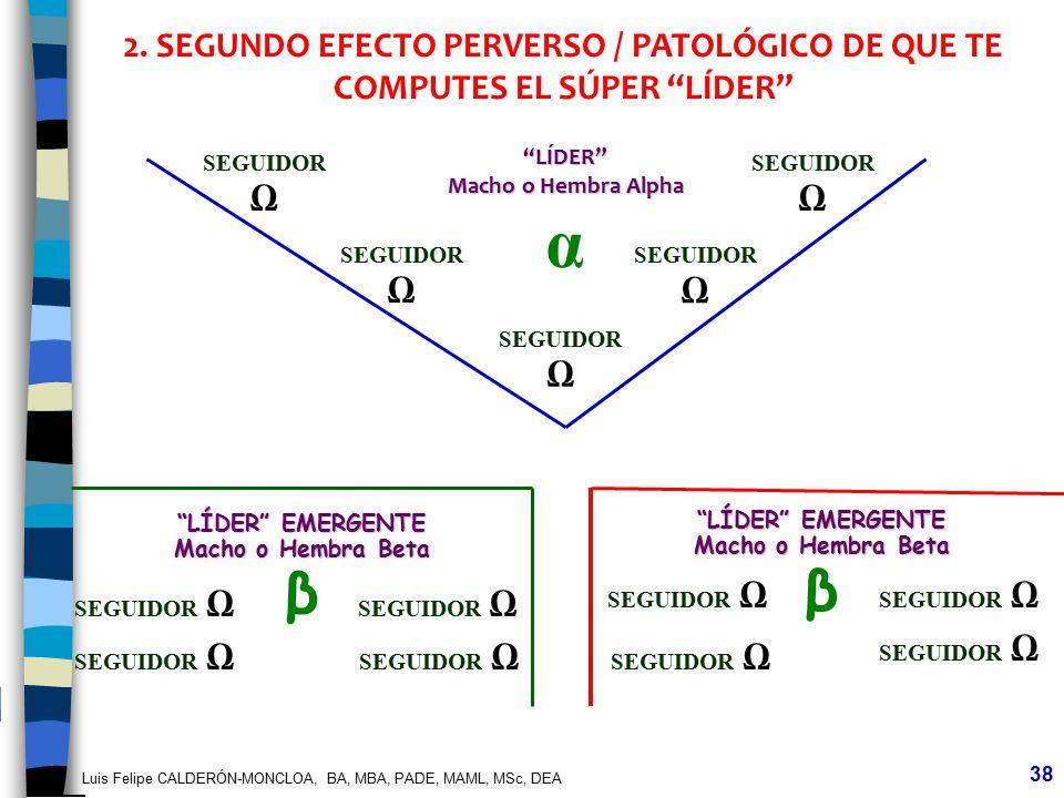 Luis Felipe CALDERÓN-MONCLOA, BA, MBA, PADE, MAML, MSc, DEA 38 LÍDER Macho o Hembra Alpha α SEGUIDOR 2. SEGUNDO EFECTO PERVERSO / PATOLÓGICO DE QUE TE