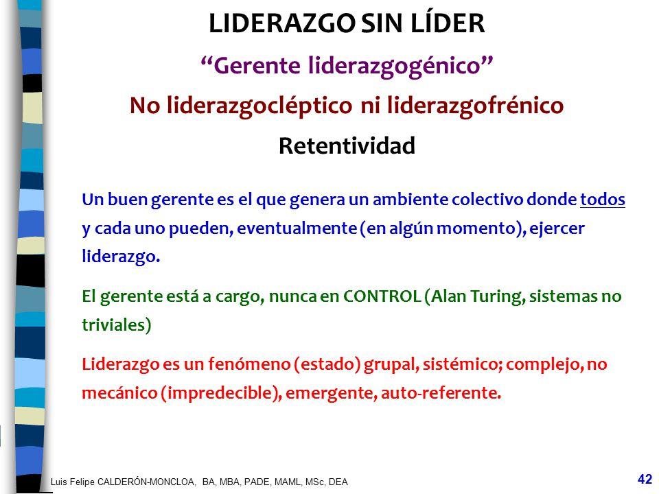 Luis Felipe CALDERÓN-MONCLOA, BA, MBA, PADE, MAML, MSc, DEA 42 LIDERAZGO SIN LÍDER Gerente liderazgogénico No liderazgocléptico ni liderazgofrénico Re