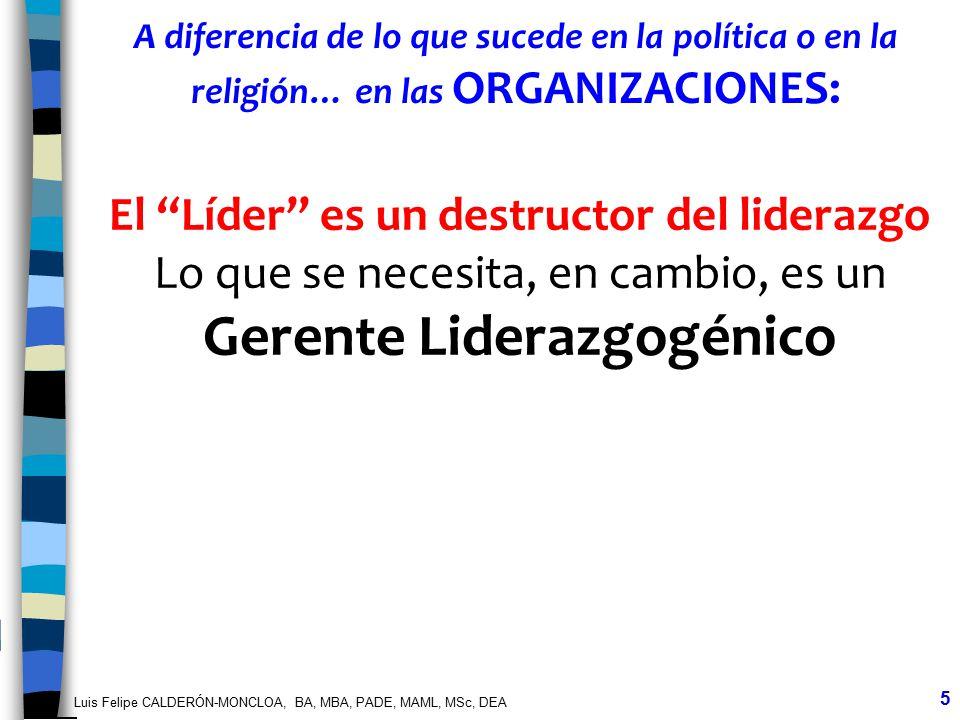 Luis Felipe CALDERÓN-MONCLOA, BA, MBA, PADE, MAML, MSc, DEA 5 A diferencia de lo que sucede en la política o en la religión… en las ORGANIZACIONES: El