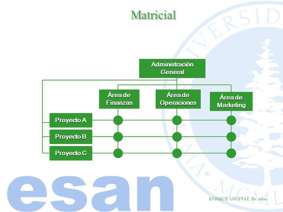 ENRIQUE LOUFFAT, Dr. Adm. AdministraciónGeneral Área de Finanzas Proyecto A Área de Operaciones Marketing Proyecto B Proyecto C