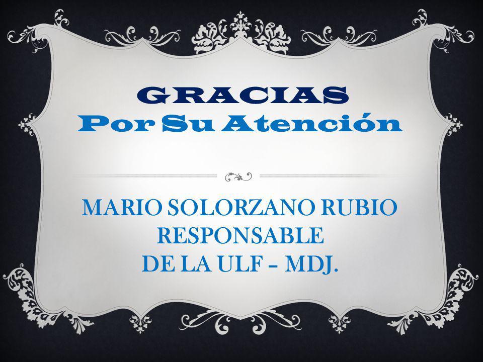 GRACIAS Por Su Atención MARIO SOLORZANO RUBIO RESPONSABLE DE LA ULF – MDJ.