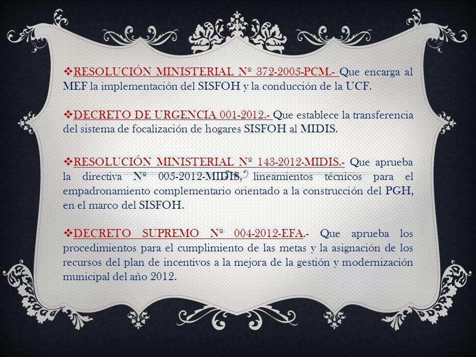 RESOLUCIÓN MINISTERIAL Nº 372-2005-PCM.- Que encarga al MEF la implementación del SISFOH y la conducción de la UCF.