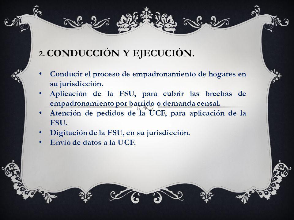 2.CONDUCCIÓN Y EJECUCIÓN. Conducir el proceso de empadronamiento de hogares en su jurisdicción.