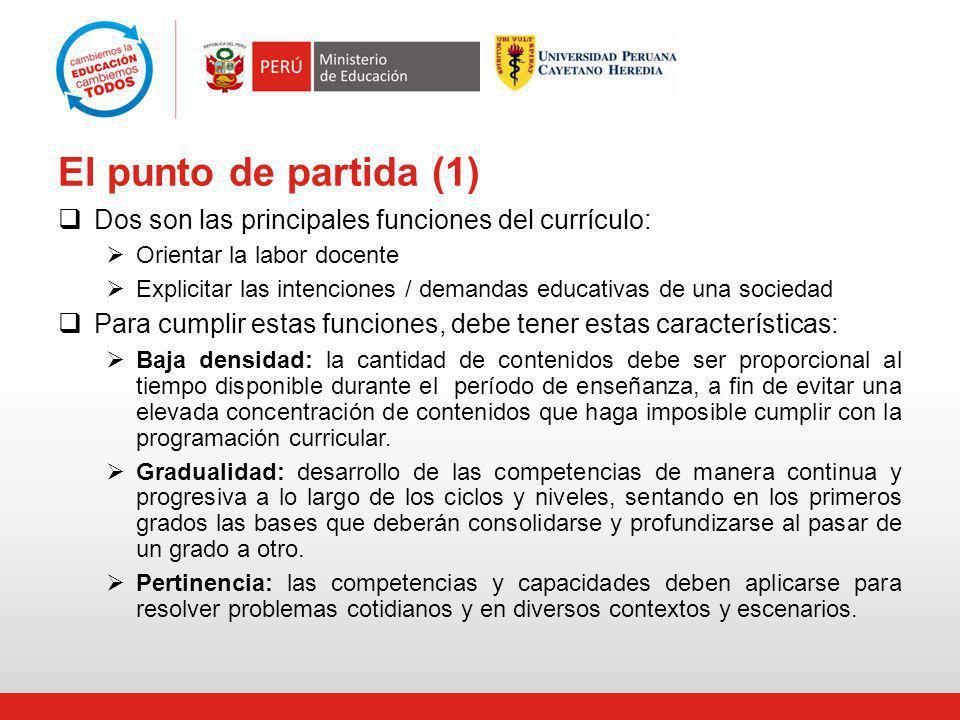 El punto de partida (1) Dos son las principales funciones del currículo: Orientar la labor docente Explicitar las intenciones / demandas educativas de
