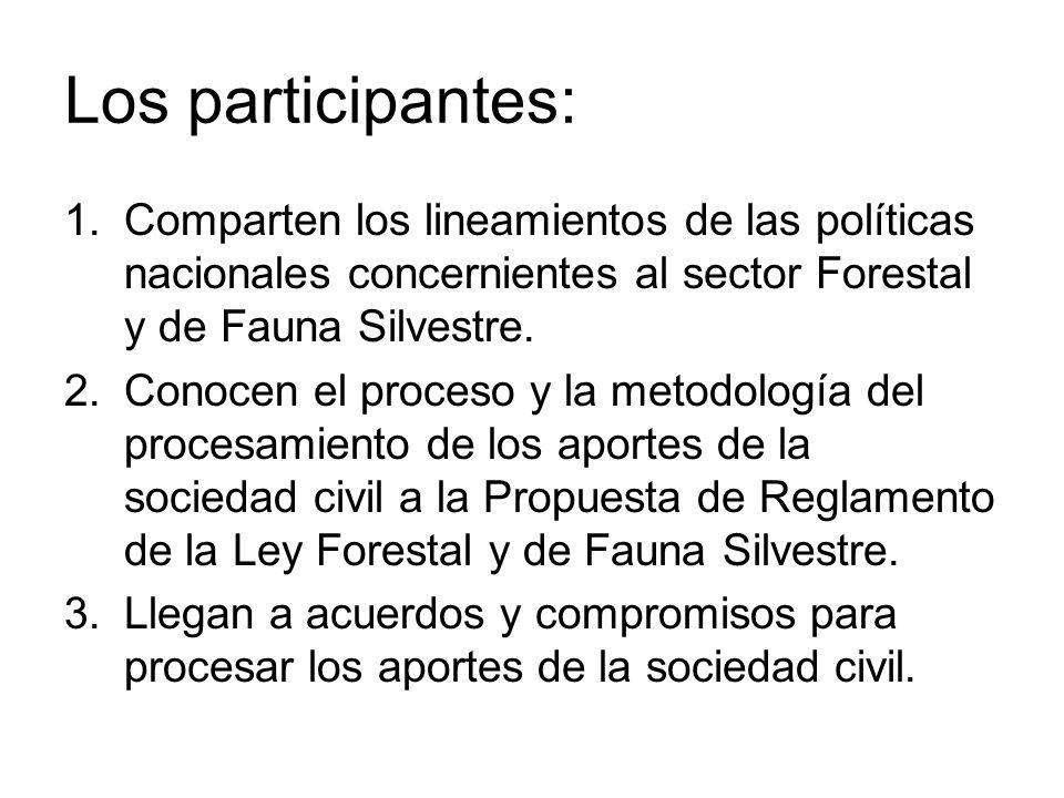 Los participantes: 1.Comparten los lineamientos de las políticas nacionales concernientes al sector Forestal y de Fauna Silvestre. 2.Conocen el proces
