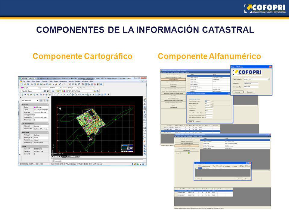 Componente AlfanuméricoComponente Cartográfico COMPONENTES DE LA INFORMACIÓN CATASTRAL