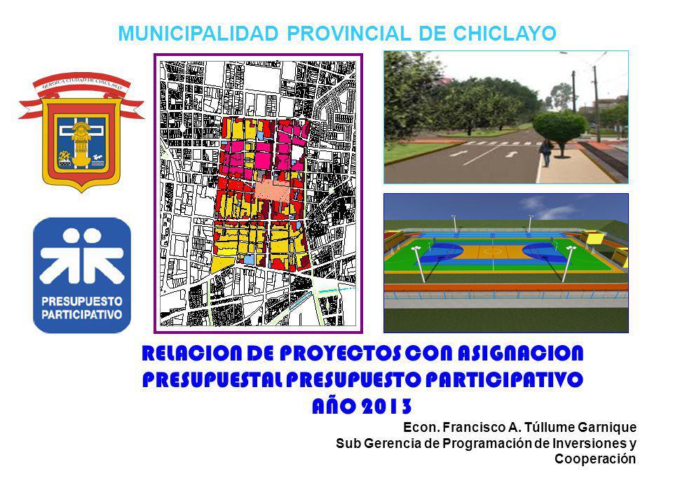 MUNICIPALIDAD PROVINCIAL DE CHICLAYO RELACION DE PROYECTOS CON ASIGNACION PRESUPUESTAL PRESUPUESTO PARTICIPATIVO AÑO 2013 Econ. Francisco A. Túllume G
