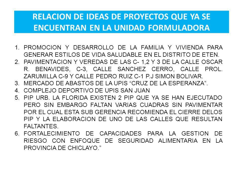 RELACION DE IDEAS DE PROYECTOS QUE YA SE ENCUENTRAN EN LA UNIDAD FORMULADORA 1.PROMOCION Y DESARROLLO DE LA FAMILIA Y VIVIENDA PARA GENERAR ESTILOS DE VIDA SALUDABLE EN EL DISTRITO DE ETEN.