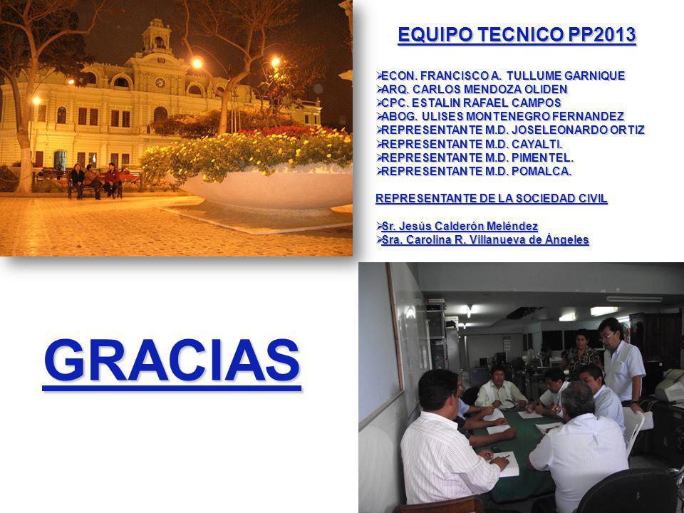 GRACIAS EQUIPO TECNICO PP2013 ECON. FRANCISCO A. TULLUME GARNIQUE ECON.