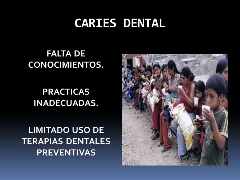 CARIES DENTAL FALTA DE CONOCIMIENTOS. PRACTICAS INADECUADAS. LIMITADO USO DE TERAPIAS DENTALES PREVENTIVAS