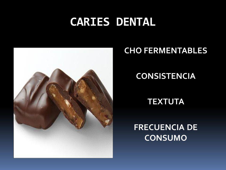 CARIES DENTAL CHO FERMENTABLES CONSISTENCIA TEXTUTA FRECUENCIA DE CONSUMO