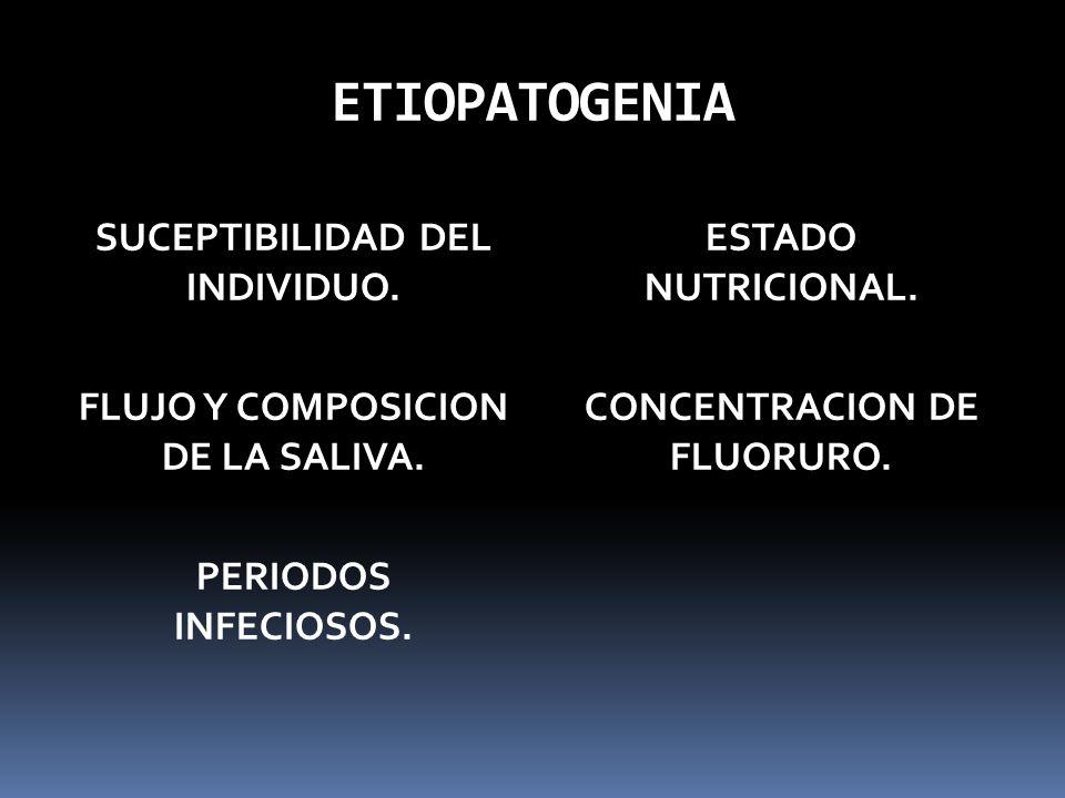 ETIOPATOGENIA SUCEPTIBILIDAD DEL INDIVIDUO. FLUJO Y COMPOSICION DE LA SALIVA. PERIODOS INFECIOSOS. ESTADO NUTRICIONAL. CONCENTRACION DE FLUORURO.