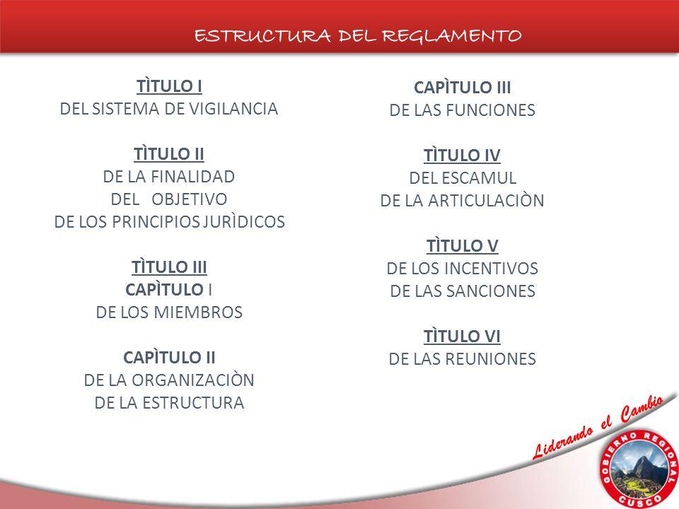 TÌTULO I DEL SISTEMA DE VIGILANCIA TÌTULO II DE LA FINALIDAD DEL OBJETIVO DE LOS PRINCIPIOS JURÌDICOS TÌTULO III CAPÌTULO I DE LOS MIEMBROS CAPÌTULO II DE LA ORGANIZACIÒN DE LA ESTRUCTURA CAPÌTULO III DE LAS FUNCIONES TÌTULO IV DEL ESCAMUL DE LA ARTICULACIÒN TÌTULO V DE LOS INCENTIVOS DE LAS SANCIONES TÌTULO VI DE LAS REUNIONES
