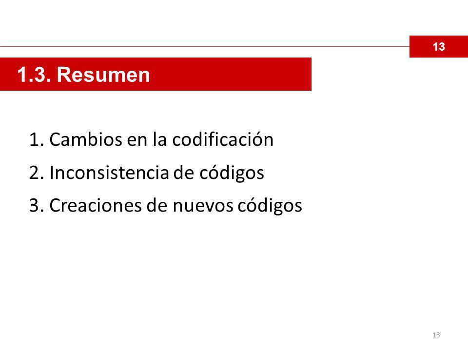 13 1.3.Resumen 1. Cambios en la codificación 2. Inconsistencia de códigos 3.