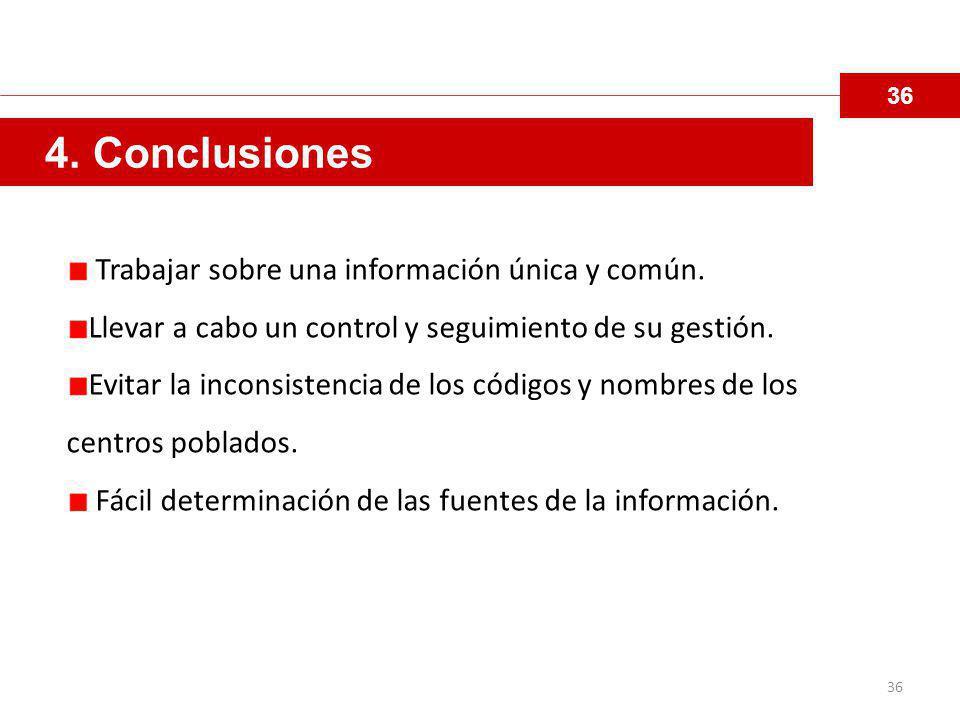 36 4.Conclusiones Trabajar sobre una información única y común.