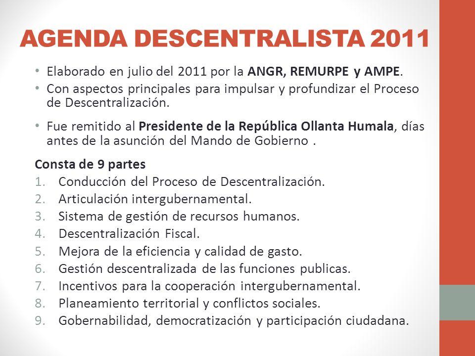 AGENDA DESCENTRALISTA 2011 Elaborado en julio del 2011 por la ANGR, REMURPE y AMPE.