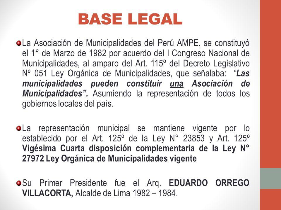 BASE LEGAL La Asociación de Municipalidades del Perú AMPE, se constituyó el 1° de Marzo de 1982 por acuerdo del I Congreso Nacional de Municipalidades, al amparo del Art.