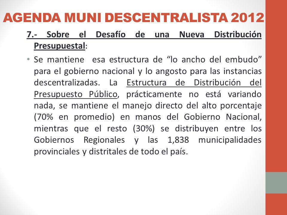 AGENDA MUNI DESCENTRALISTA 2012 7.- Sobre el Desafío de una Nueva Distribución Presupuestal : Se mantiene esa estructura de lo ancho del embudo para el gobierno nacional y lo angosto para las instancias descentralizadas.