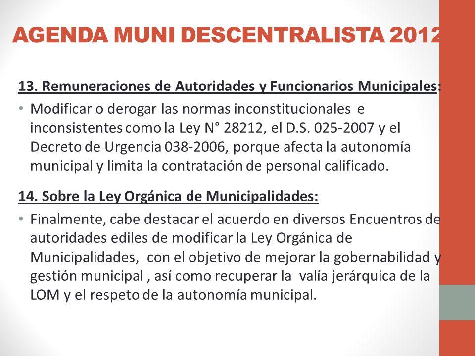 AGENDA MUNI DESCENTRALISTA 2012 13.