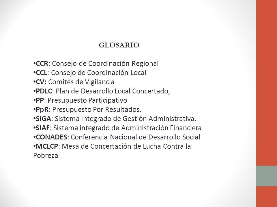 GLOSARIO CCR: Consejo de Coordinación Regional CCL: Consejo de Coordinación Local CV: Comités de Vigilancia PDLC: Plan de Desarrollo Local Concertado, PP: Presupuesto Participativo PpR: Presupuesto Por Resultados.