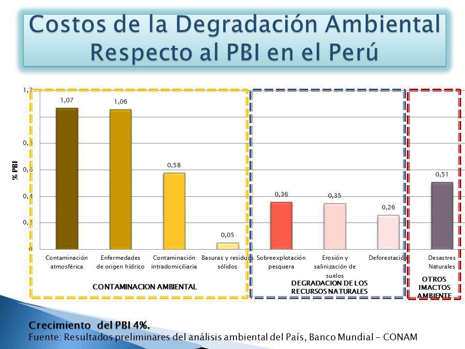 DEGRADACION DE LOS RECURSOS NATURALES OTROS IMACTOS AMBIENTE CONTAMINACION AMBIENTAL Crecimiento del PBI 4%. Fuente: Resultados preliminares del análi