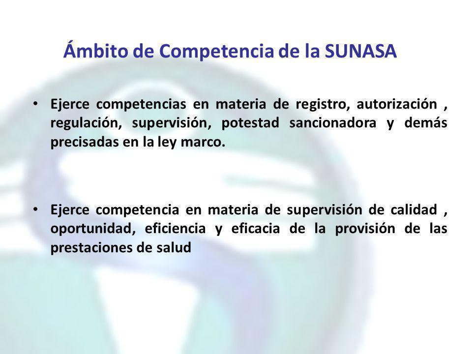 Ámbito de Competencia de la SUNASA Ejerce competencias en materia de registro, autorización, regulación, supervisión, potestad sancionadora y demás pr