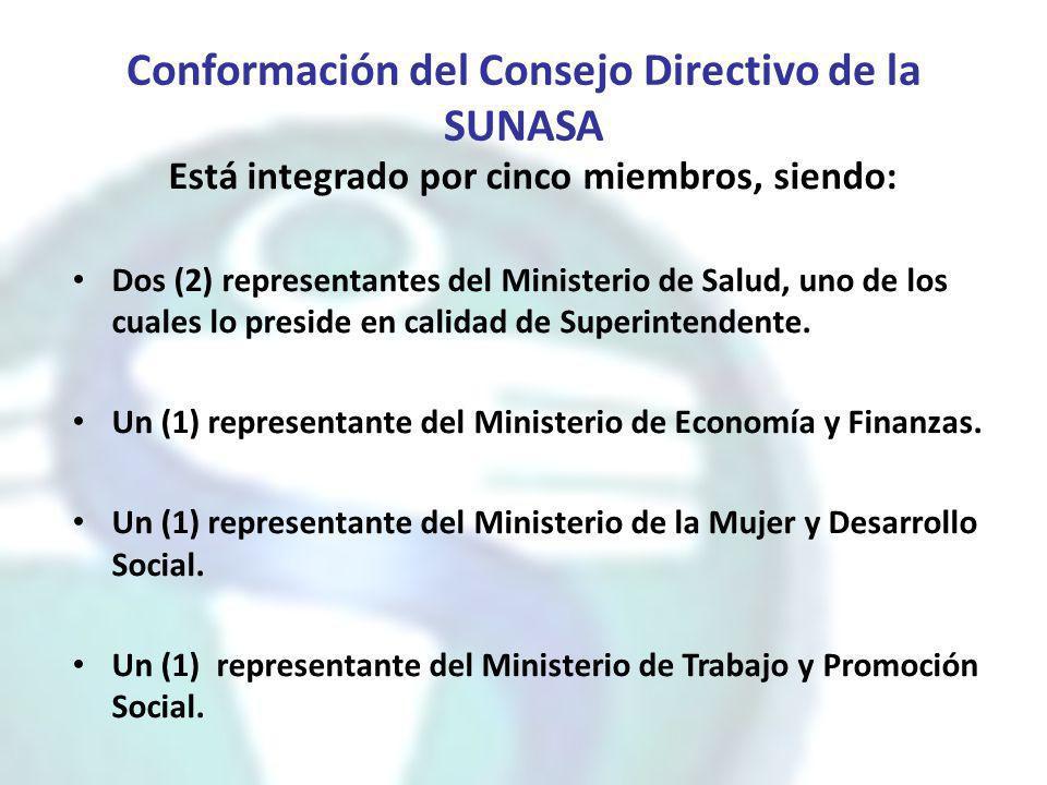 Conformación del Consejo Directivo de la SUNASA Está integrado por cinco miembros, siendo: Dos (2) representantes del Ministerio de Salud, uno de los