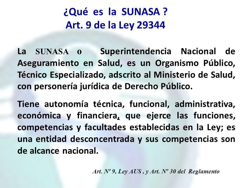 ¿Qué es la SUNASA ? Art. 9 de la Ley 29344 La SUNASA o Superintendencia Nacional de Aseguramiento en Salud, es un Organismo Público, Técnico Especiali