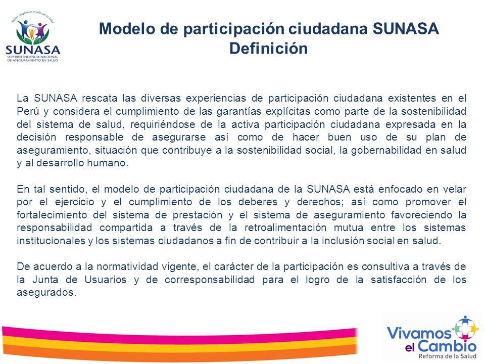 La SUNASA rescata las diversas experiencias de participación ciudadana existentes en el Perú y considera el cumplimiento de las garantías explícitas c