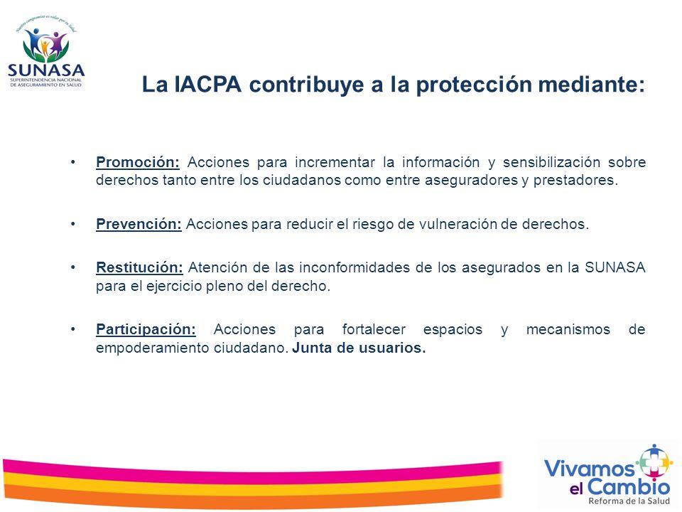 Promoción: Acciones para incrementar la información y sensibilización sobre derechos tanto entre los ciudadanos como entre aseguradores y prestadores.