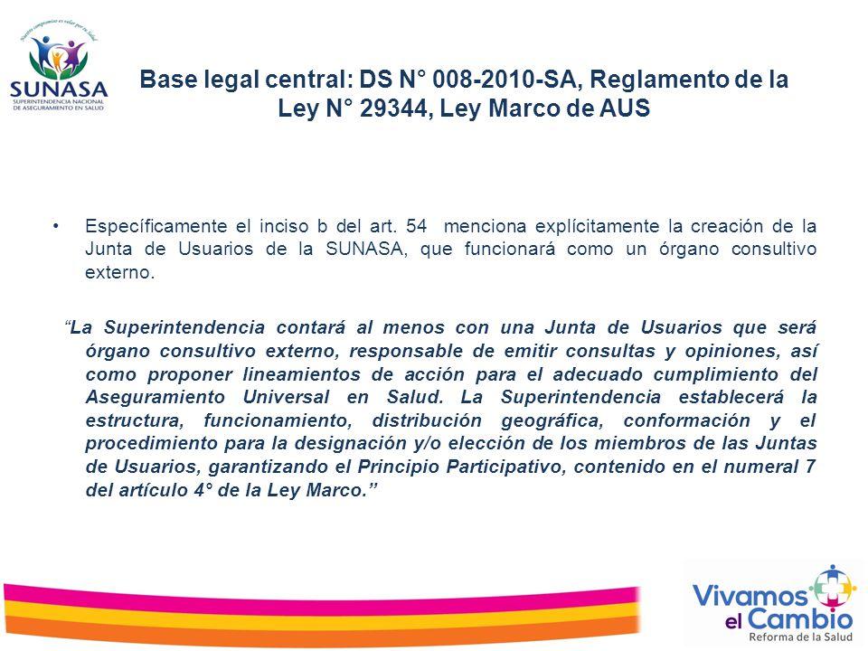 Base legal central: DS N° 008-2010-SA, Reglamento de la Ley N° 29344, Ley Marco de AUS Específicamente el inciso b del art. 54 menciona explícitamente