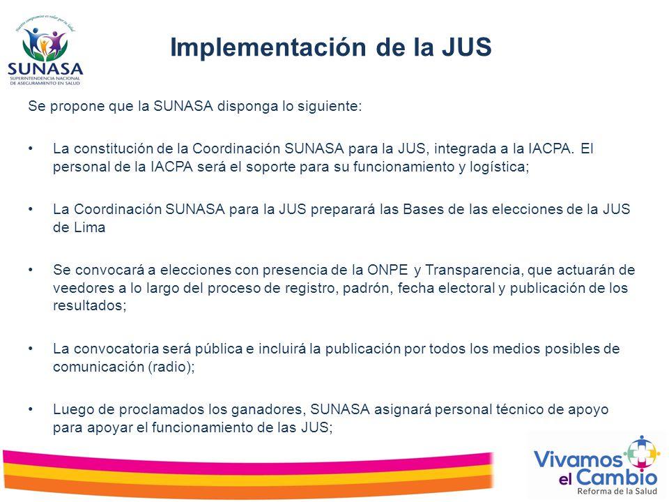 Se propone que la SUNASA disponga lo siguiente: La constitución de la Coordinación SUNASA para la JUS, integrada a la IACPA. El personal de la IACPA s