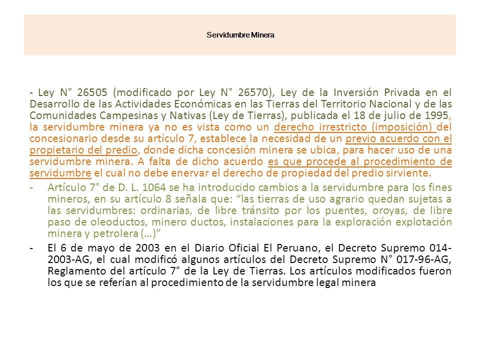 Servidumbre Minera - Ley N° 26505 (modificado por Ley N° 26570), Ley de la Inversión Privada en el Desarrollo de las Actividades Económicas en las Tie