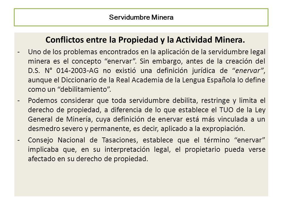 Servidumbre Minera Conflictos entre la Propiedad y la Actividad Minera. -Uno de los problemas encontrados en la aplicación de la servidumbre legal min