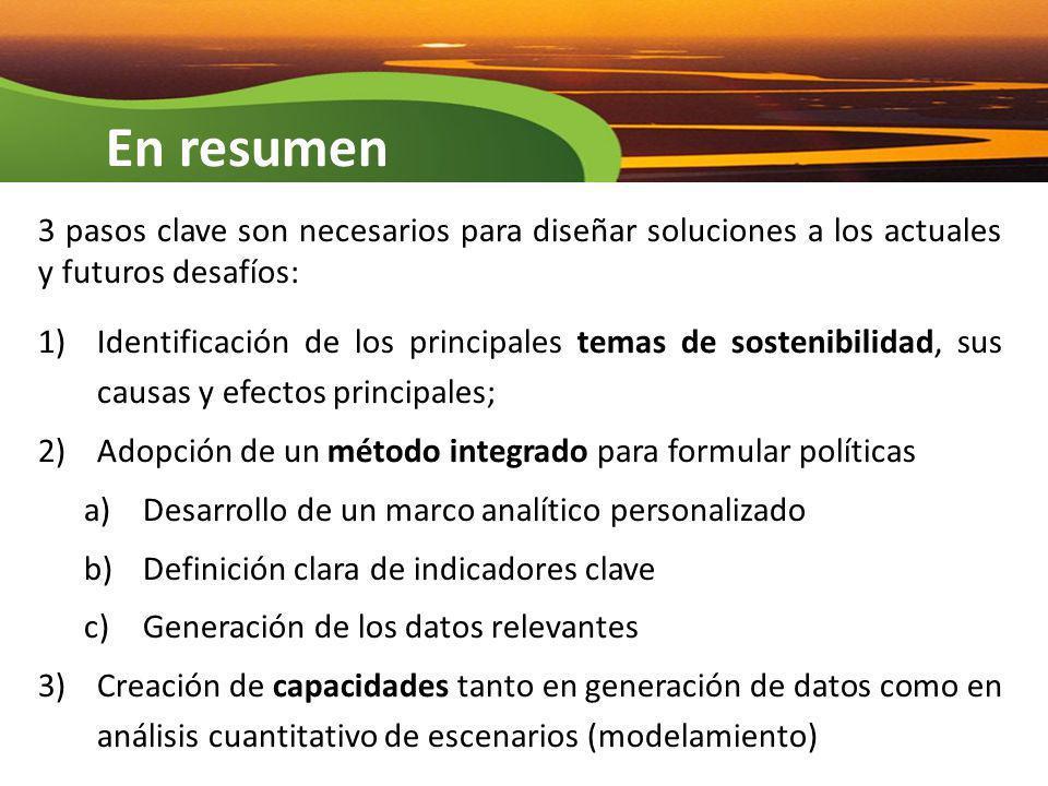 3 pasos clave son necesarios para diseñar soluciones a los actuales y futuros desafíos: 1)Identificación de los principales temas de sostenibilidad, s