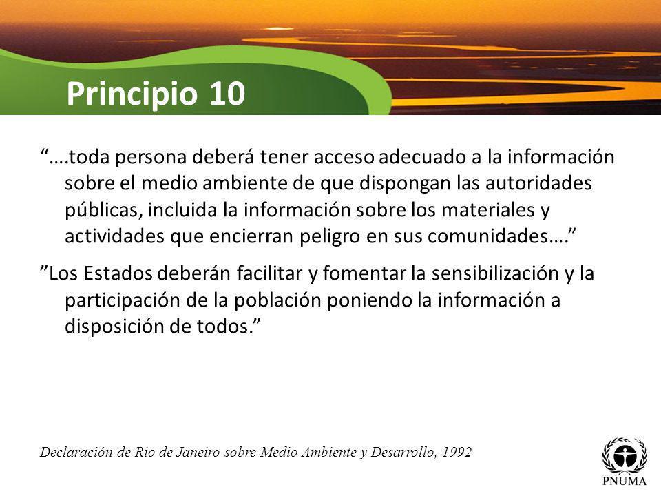 ….toda persona deberá tener acceso adecuado a la información sobre el medio ambiente de que dispongan las autoridades públicas, incluida la informació