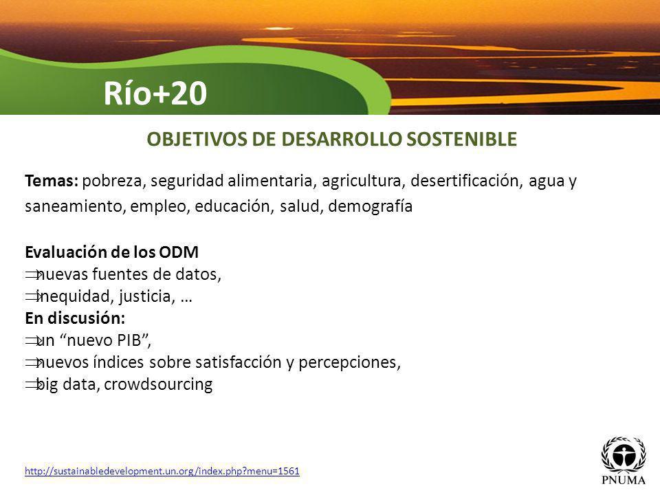 Temas: pobreza, seguridad alimentaria, agricultura, desertificación, agua y saneamiento, empleo, educación, salud, demografía Evaluación de los ODM nu