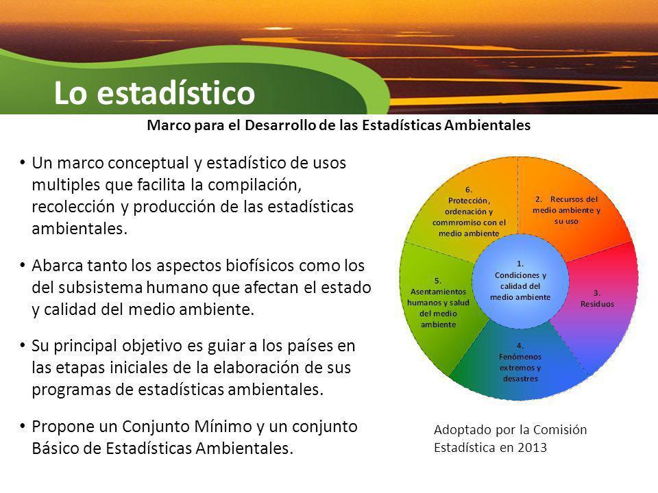 Lo estadístico Un marco conceptual y estadístico de usos multiples que facilita la compilación, recolección y producción de las estadísticas ambiental