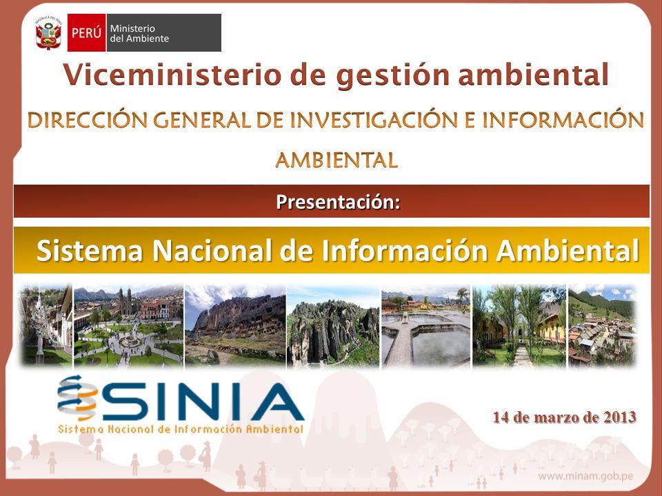 Sistema Nacional de Información Ambiental Presentación: 14 de marzo de 2013