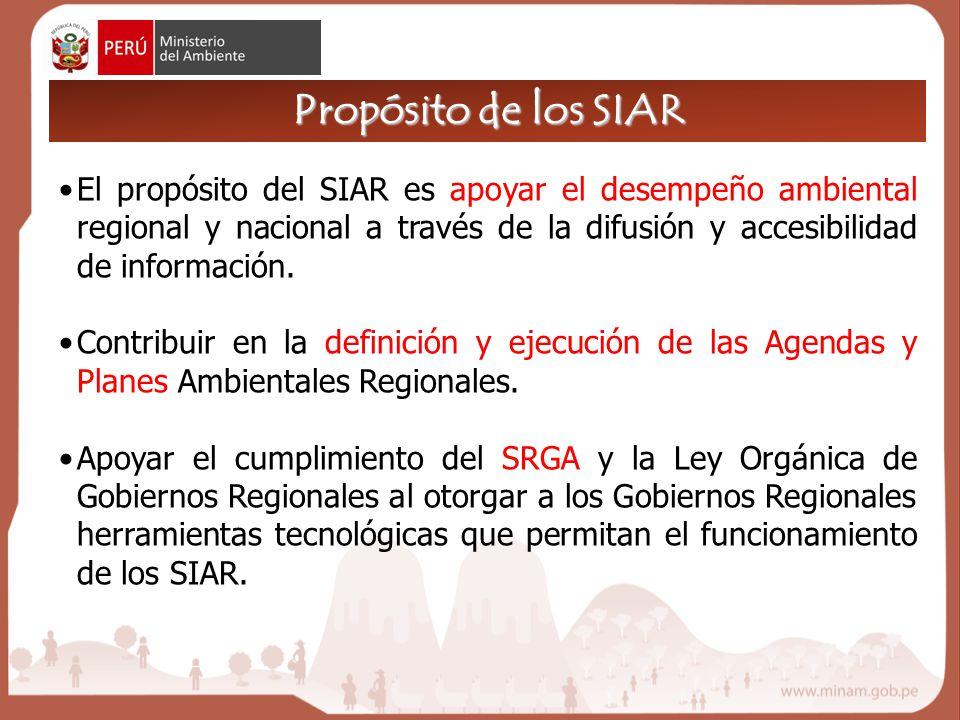 El propósito del SIAR es apoyar el desempeño ambiental regional y nacional a través de la difusión y accesibilidad de información.