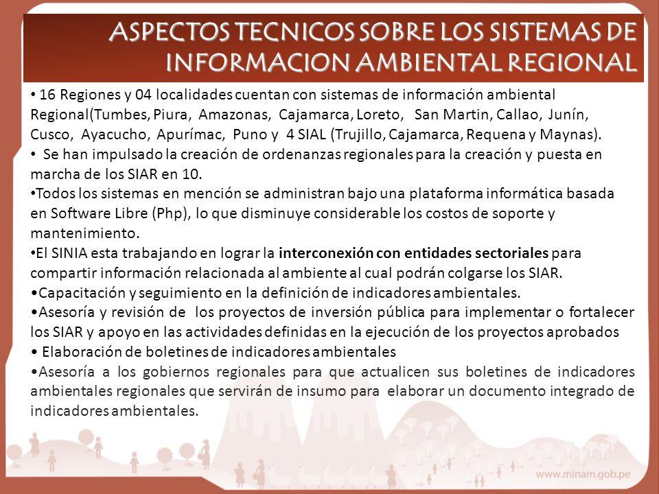 16 Regiones y 04 localidades cuentan con sistemas de información ambiental Regional(Tumbes, Piura, Amazonas, Cajamarca, Loreto, San Martin, Callao, Junín, Cusco, Ayacucho, Apurímac, Puno y 4 SIAL (Trujillo, Cajamarca, Requena y Maynas).
