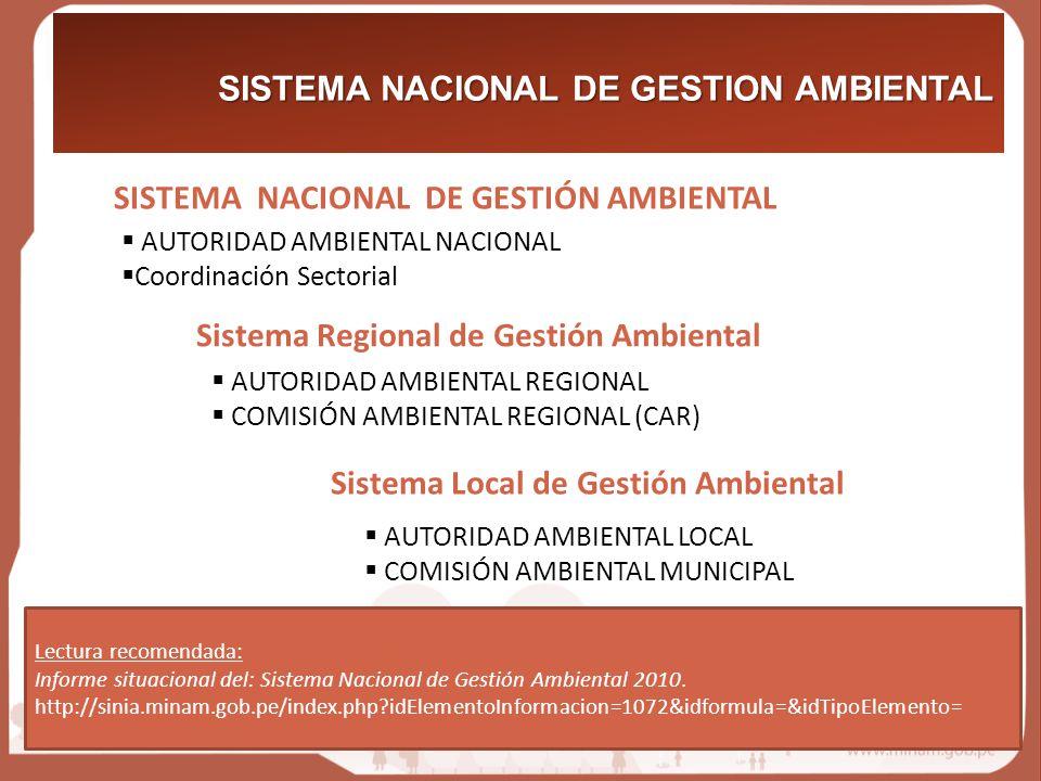SISTEMA NACIONAL DE GESTIÓN AMBIENTAL SISTEMA NACIONAL DE GESTION AMBIENTAL Lectura recomendada: Informe situacional del: Sistema Nacional de Gestión Ambiental 2010.
