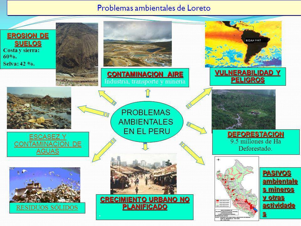 Problemas ambientales de Loreto EROSION DE SUELOS Costa y sierra: 60%. Selva: 42 %. CONTAMINACION AIRE Industria, transporte y minería VULNERABILIDAD