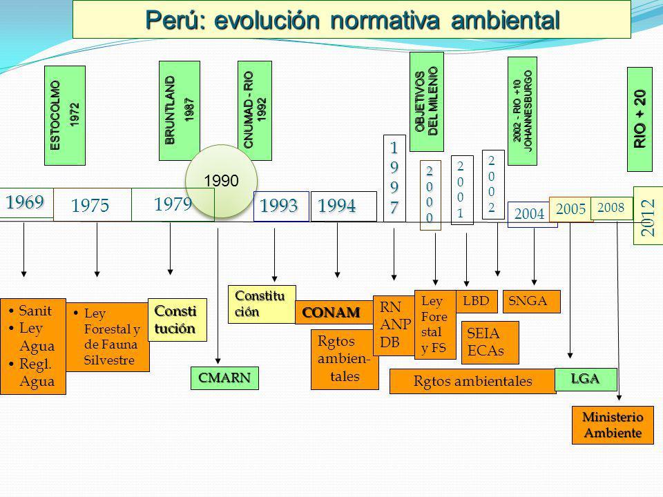 Perú: evolución normativa ambiental ESTOCOLMO1972 BRUNTLAND1987 CNUMAD - RIO 1992 1990 OBJETIVOS DEL MILENIO 2002 - RIO +10 JOHANNESBURGO RIO + 20 196