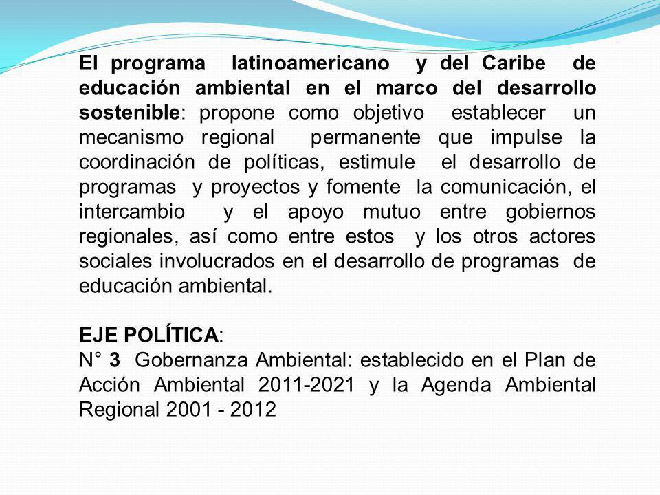 El programa latinoamericano y del Caribe de educación ambiental en el marco del desarrollo sostenible: propone como objetivo establecer un mecanismo r