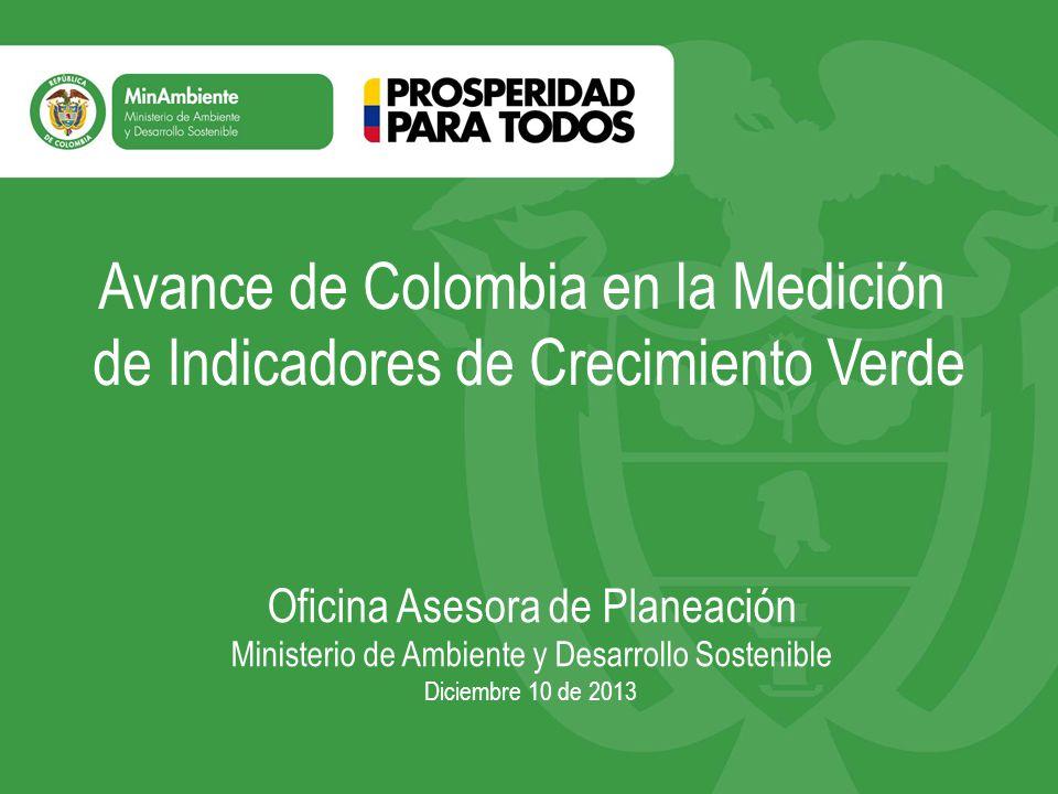 Trabajo en Indicadores de Crecimiento Verde para 2014 El Ministerio de Ambiente y Desarrollo Sostenible tiene proyectado en 2014 revisar el total de indicadores de crecimiento verde propuestos por la OCDE, y en articulación con los demás sectores, y teniendo en cuenta los indicadores ambientales de la OCDE, calcular aquellos que se tiene la capacidad de reportar, esto con el fin de elaborar el primer informe de Indicadores de Crecimiento Verde para Colombia.